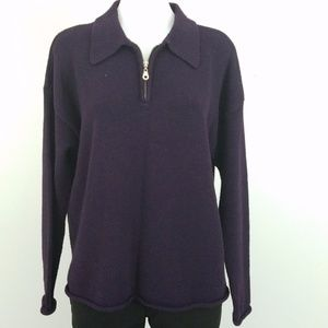 1/4 Zip Pullover Sweater in a Deep Eggplant Sz L
